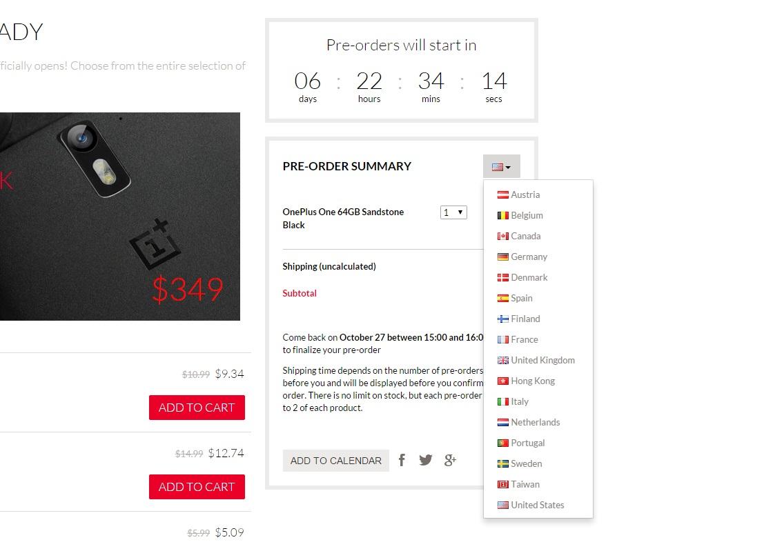 Países que fazem parte da pré-venda do OnePlus One