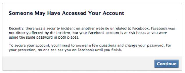 Notificação com aviso de senha possivelmente roubada no Facebook