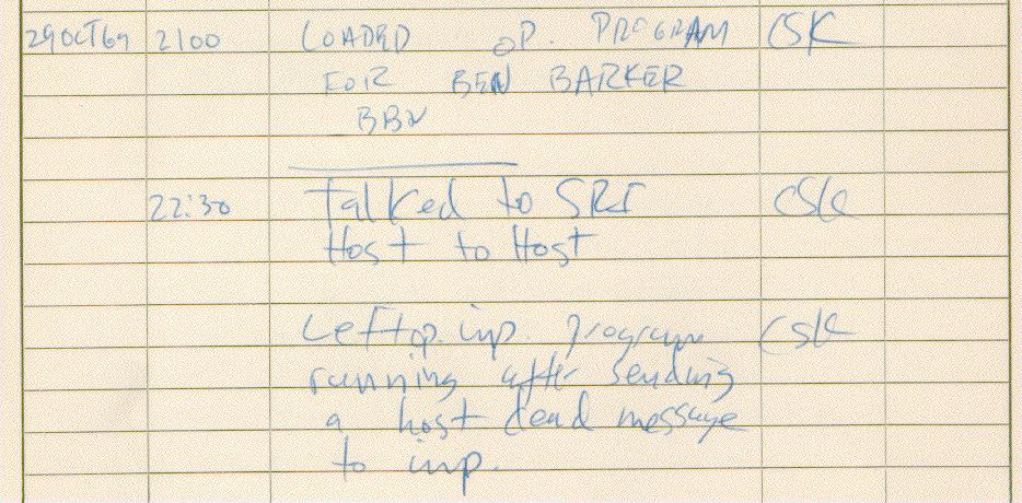 Registro da primeira mensagem enviada pela ARPANET