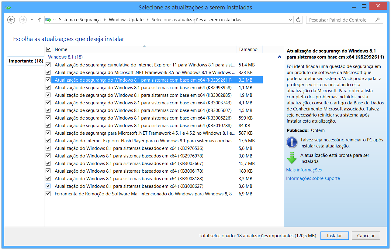 Atualização KB2992611 para o Windows