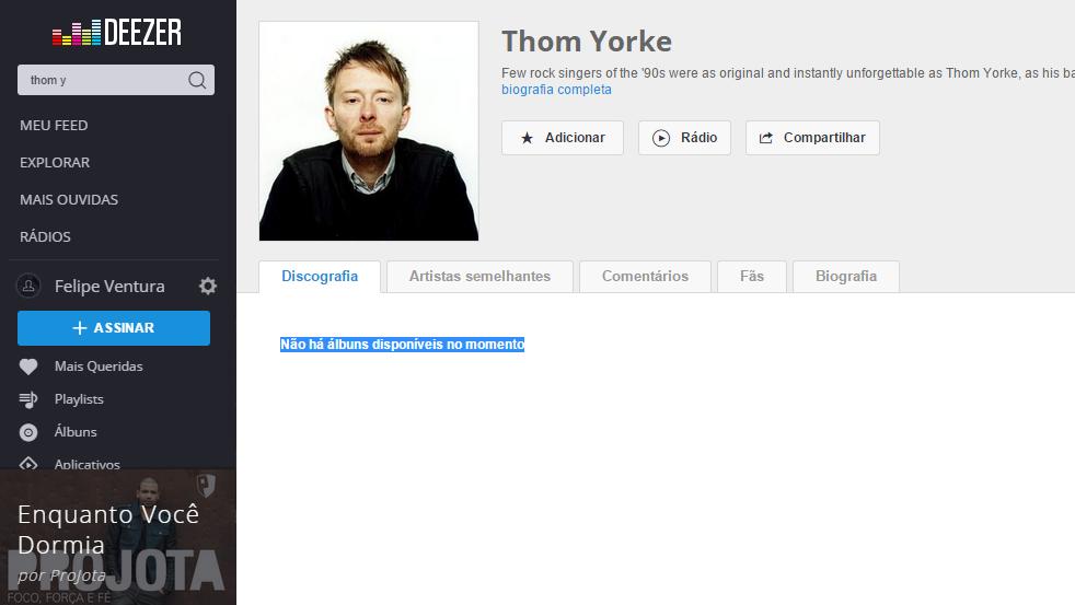Deezer não oferece álbuns do Thom Yorke