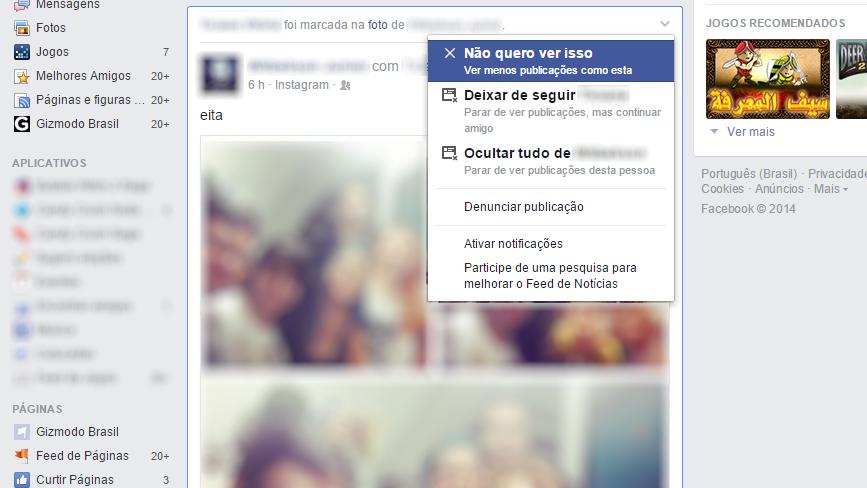 Facebook - não quero ver isso