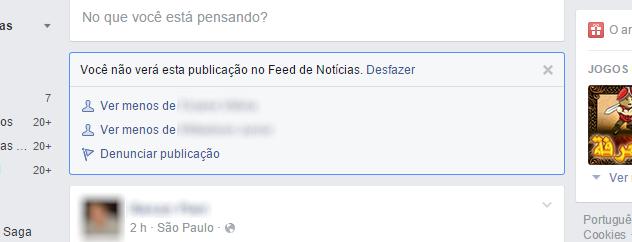 Facebook - ver menos de fulano
