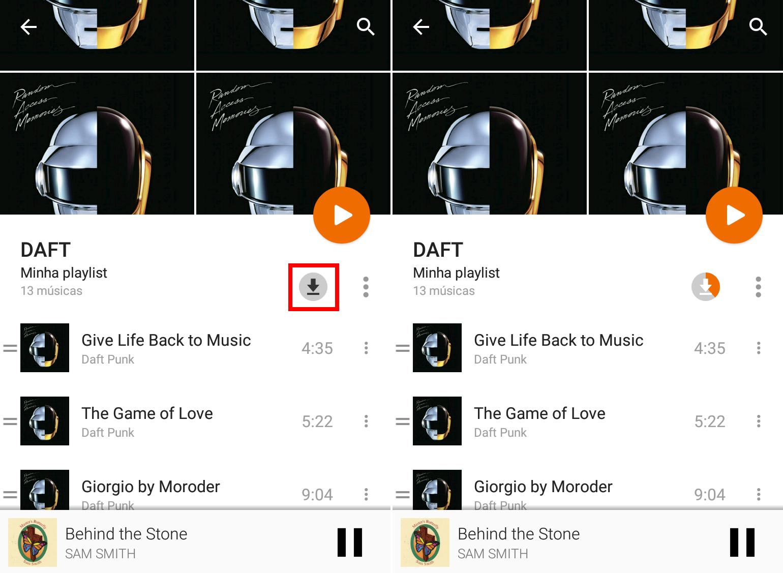 Google Play Música Acesso Ilimitado - Salvar playlist offline