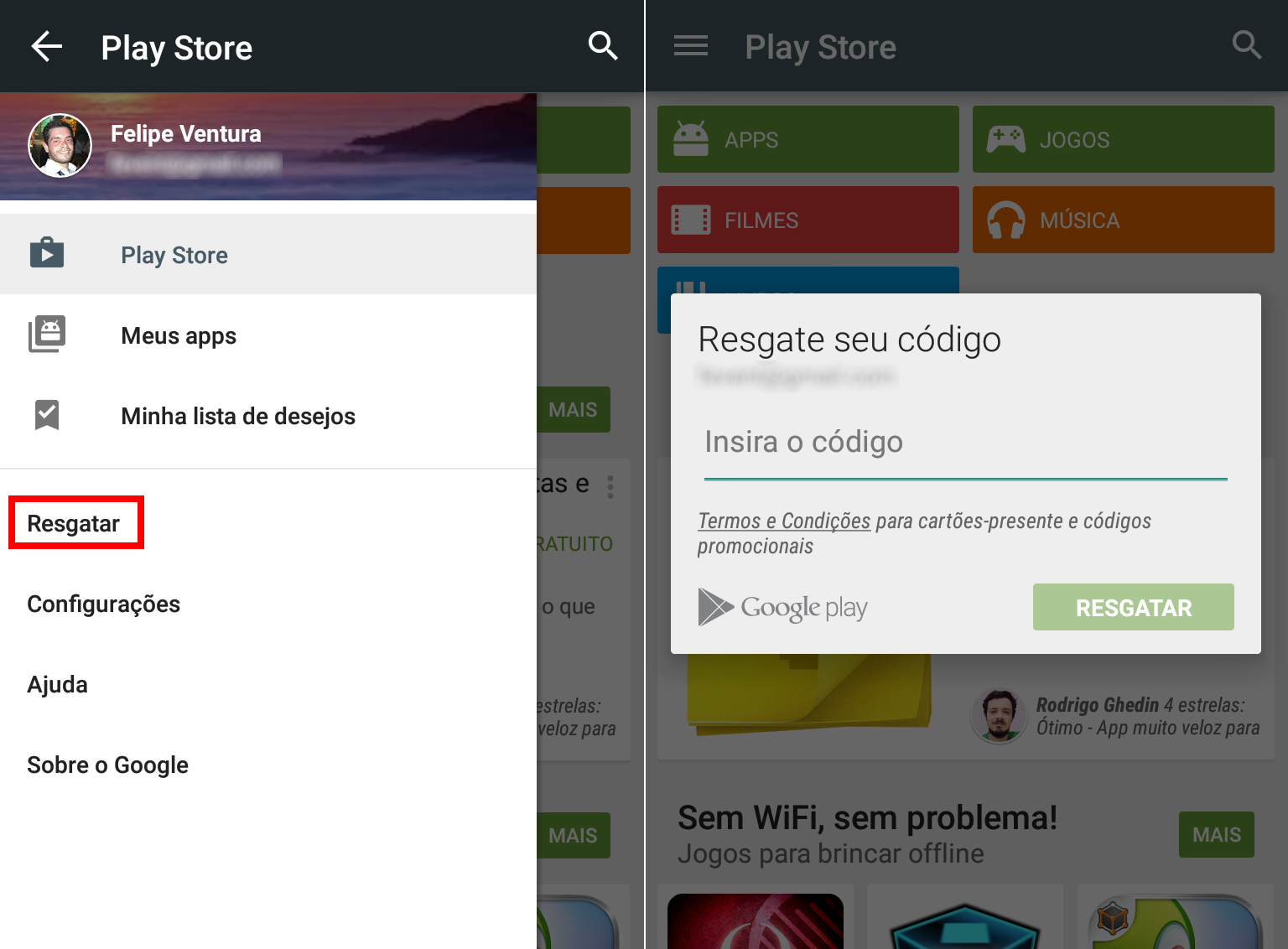 Google Play - vale-presente no Android