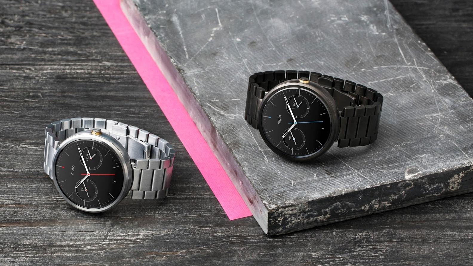 Moto 360 com pulseira de metal