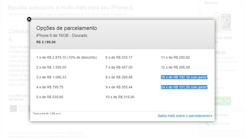 Pré-venda do iPhone 6 e 6 Plus - com juros
