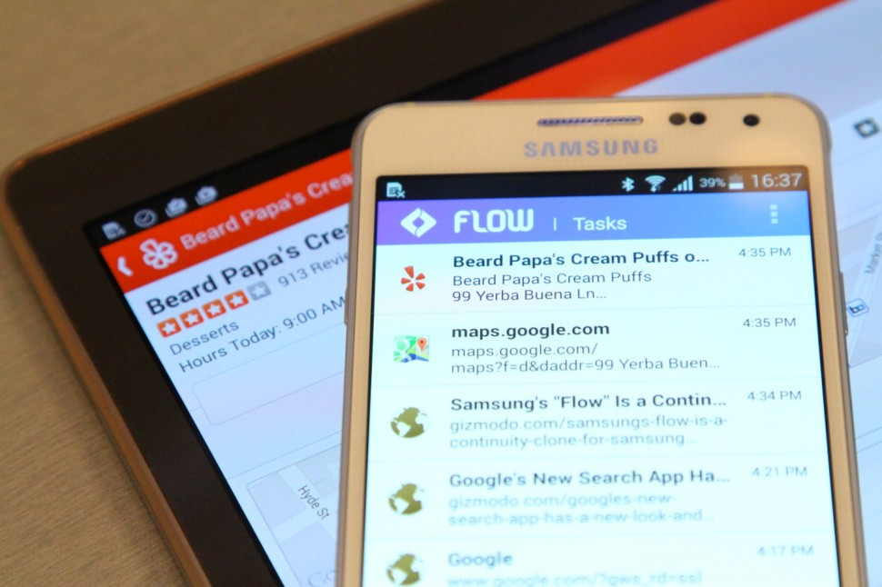 Tablet e smartphone Samsung com Flow.