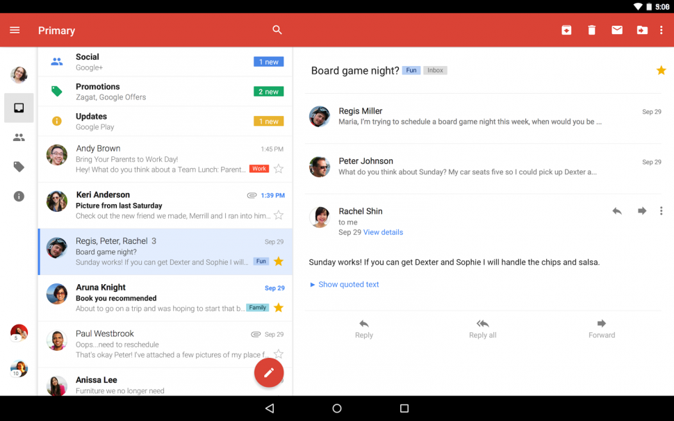 Gmail no Android 5.0 Lollipop