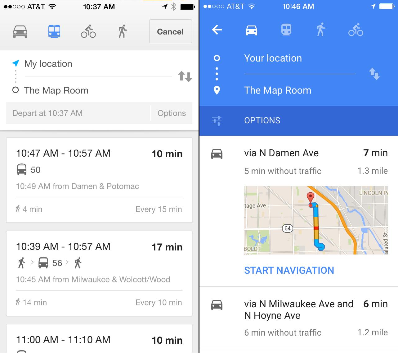Comparação entre o antigo Google Maps (esquerda) e o novo (direita)