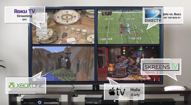 TV usando o ScreenzTV para dividir a tela