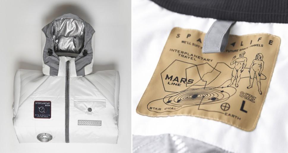 Detalhes da jaqueta da Spacelife