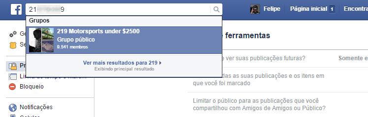 Facebook - encontrar pessoas pelo celular