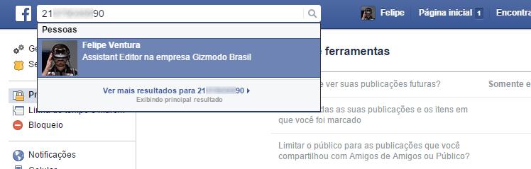 Facebook - encontrar pessoas pelo numero de celular