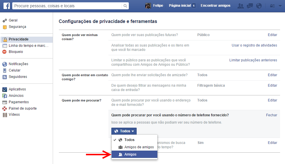 Facebook - privacidade do celular