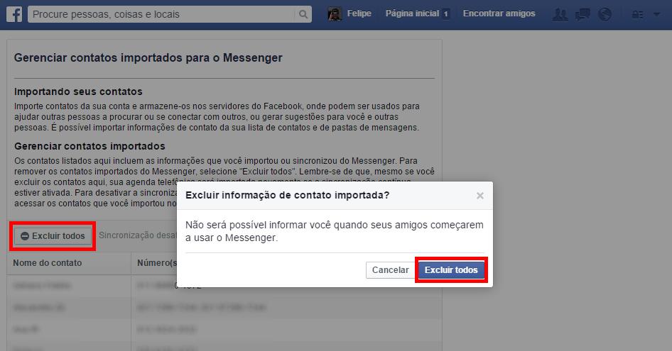 Facebook - remover contatos importados