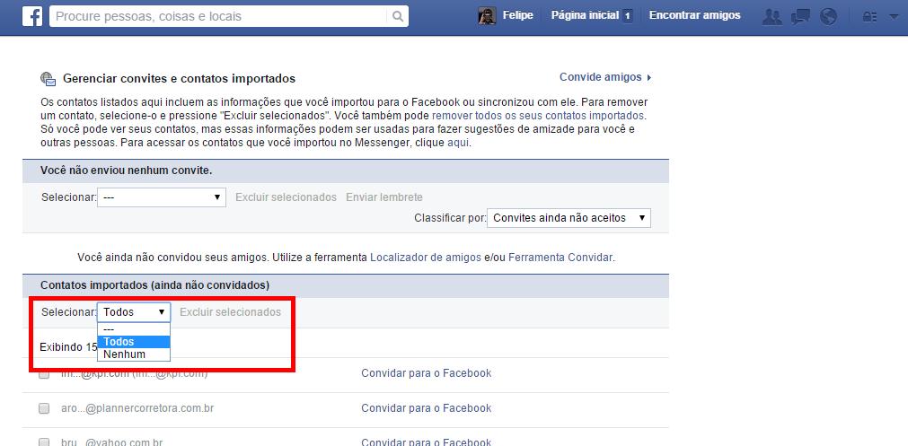 Facebook - remover emails importados