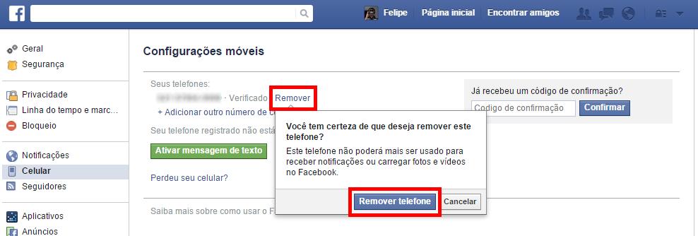 Facebook - remover numero de celular