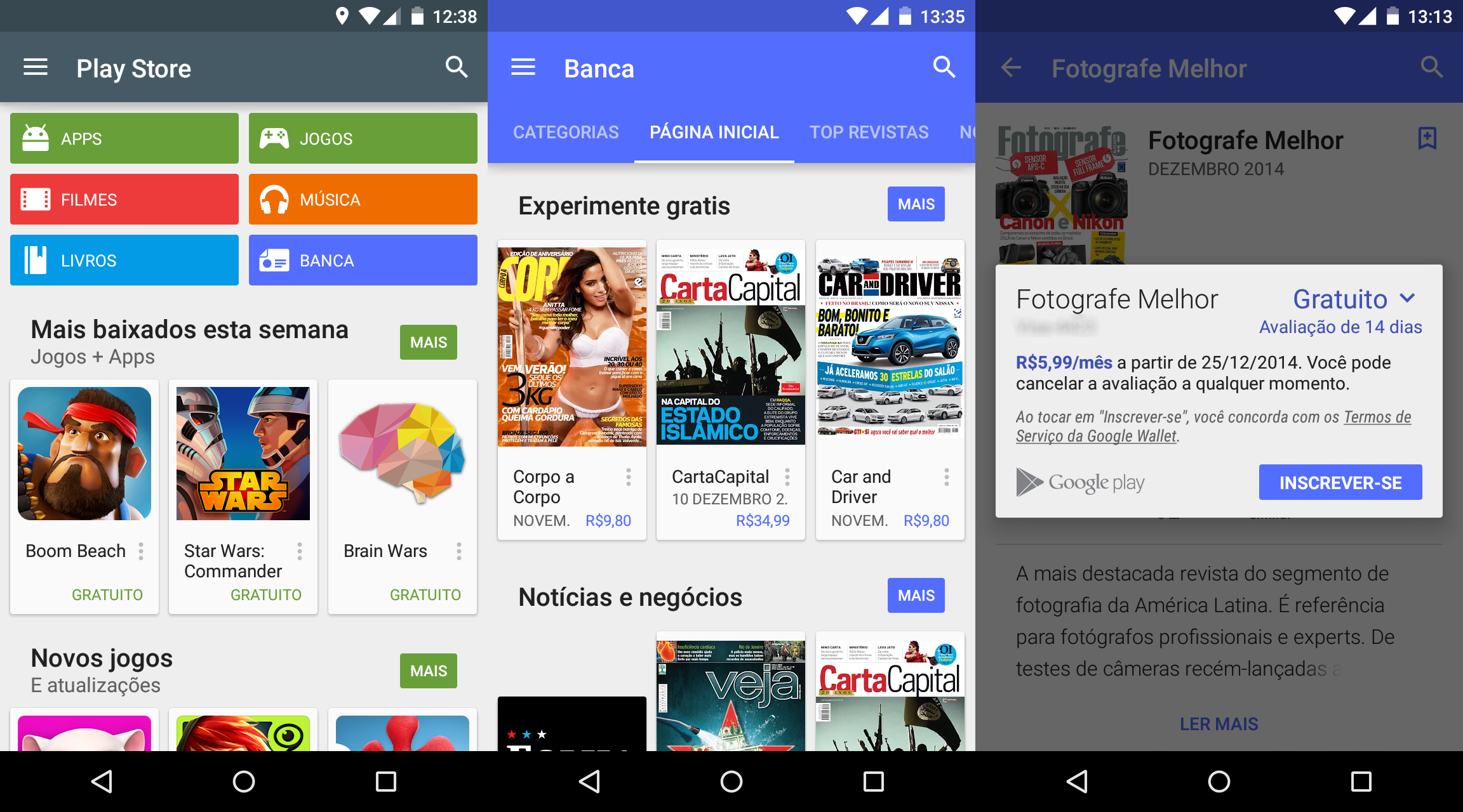 Google Play Banca oferece revistas