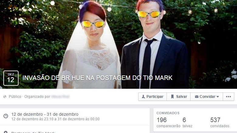 Invasao em perfil de Mark Zuckerberg