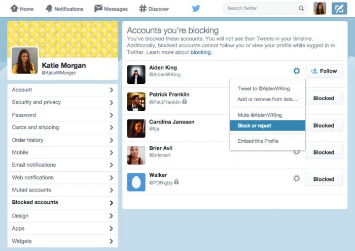 Lista de usuários bloqueados no Twitter