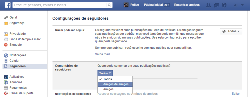 Restringir comentarios no Facebook