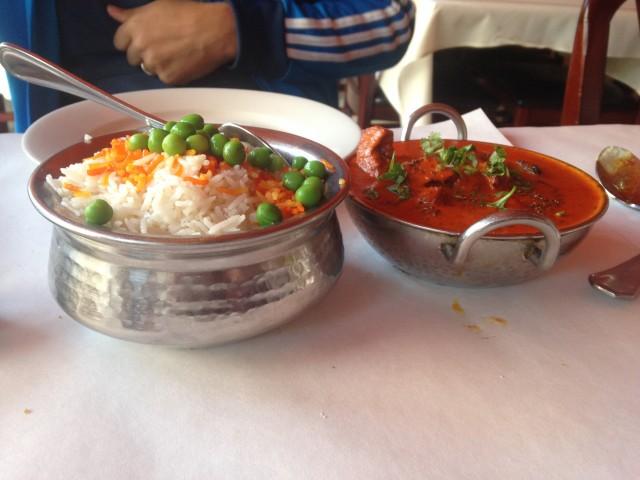 Meu prato indiano no Gandhi Fine Indian Cuisine, no Brooklyn (este é o site deles: http://www.gandhiindianbrooklyn.com)