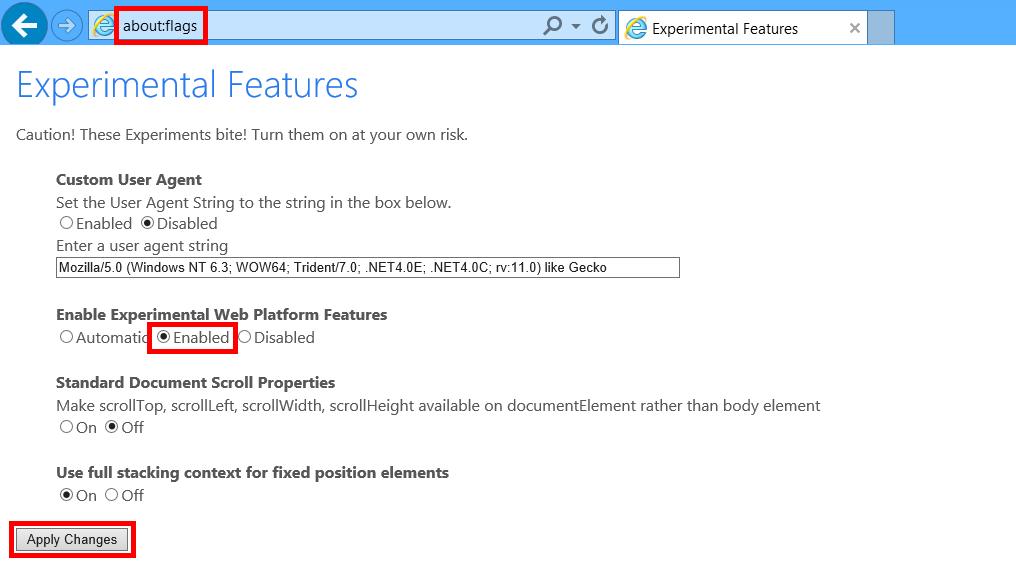 Internet Explorer rodando EdgeHTML
