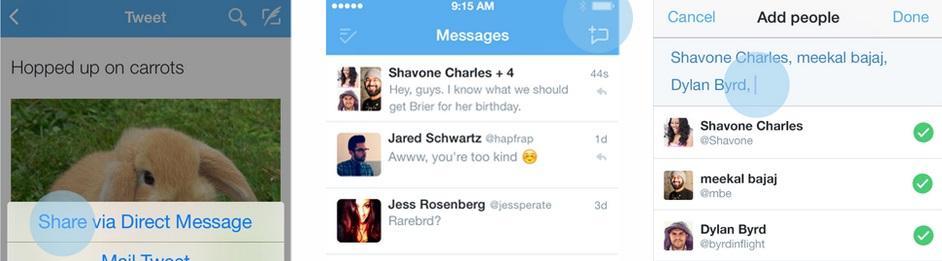 Mensagens diretas para grupos no Twitter
