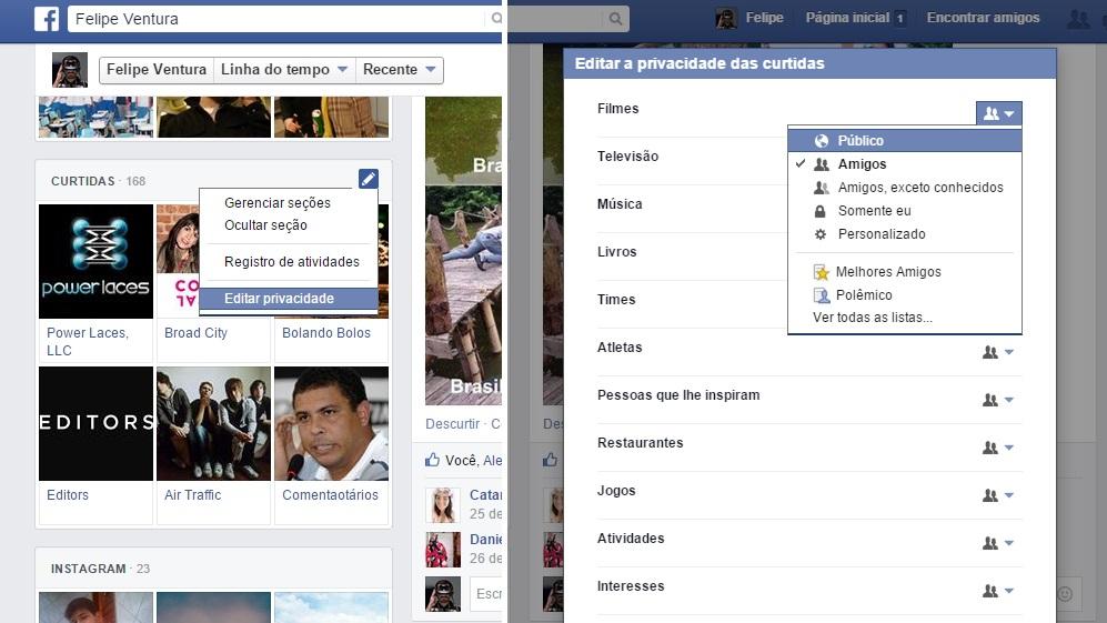 Mudar privacidade no Facebook