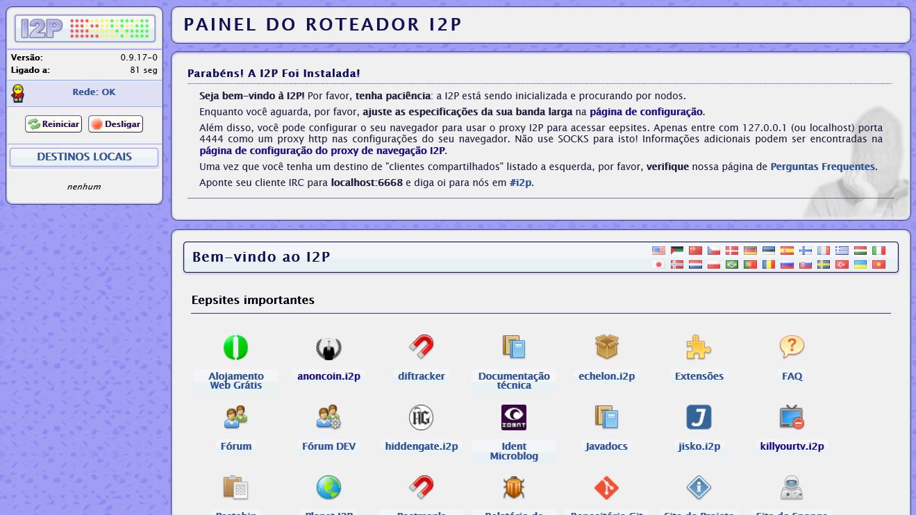Painel do roteador I2P