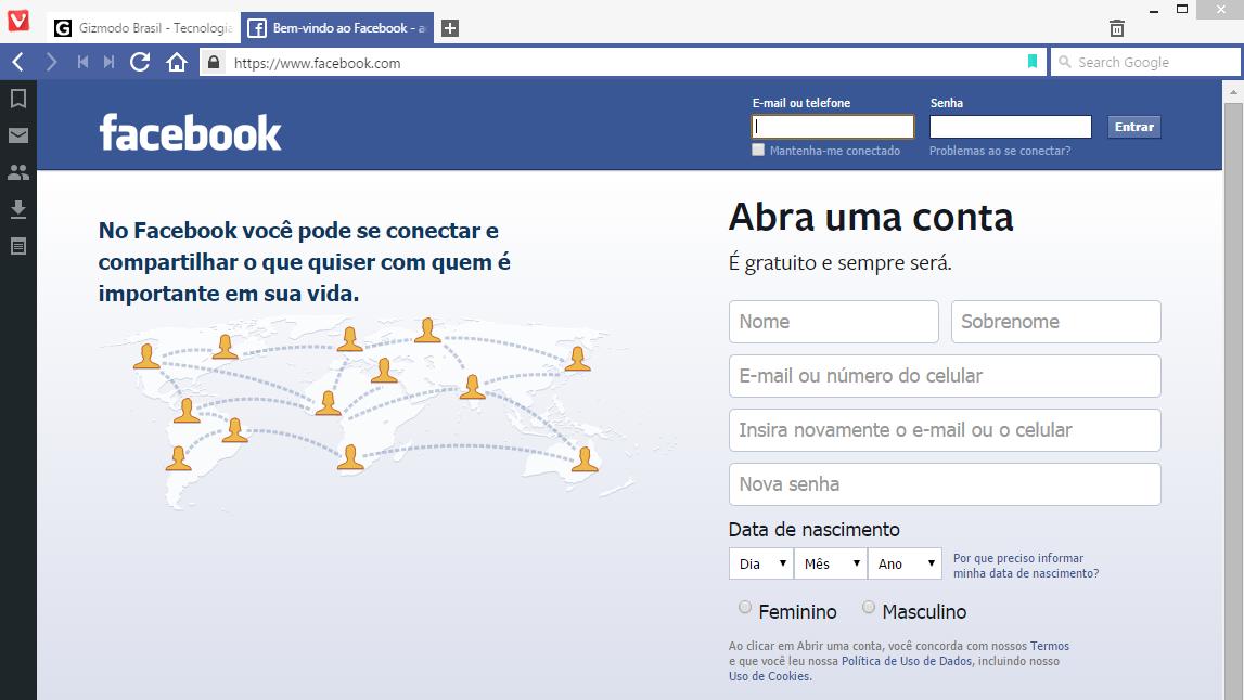 Vivaldi no Facebook