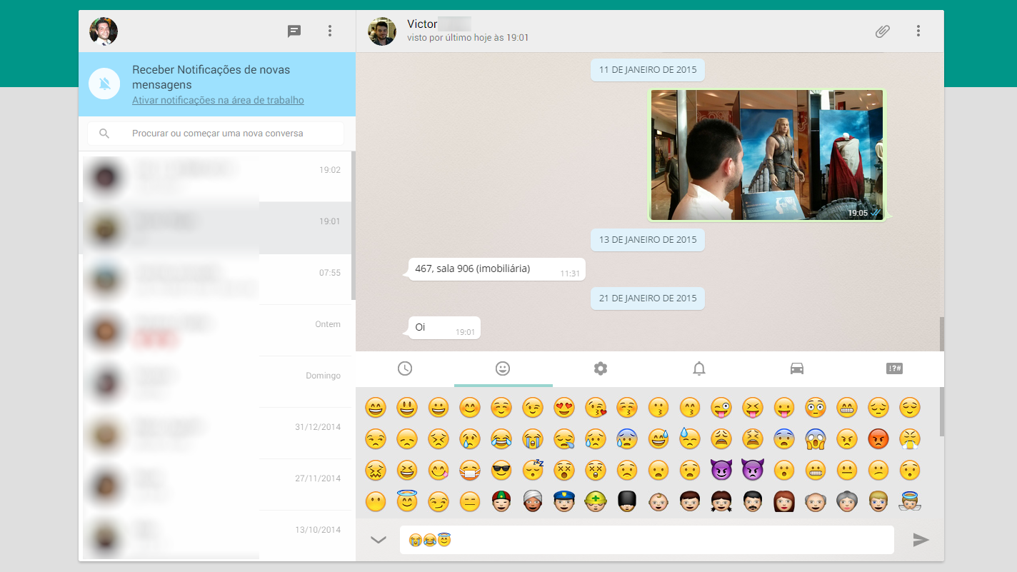 Whatsapp para web - emoticons