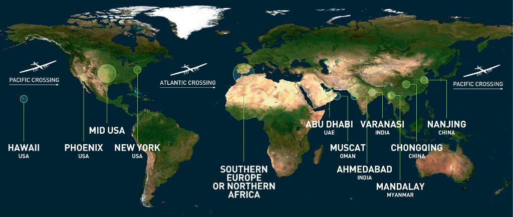 avião energia solar mapa