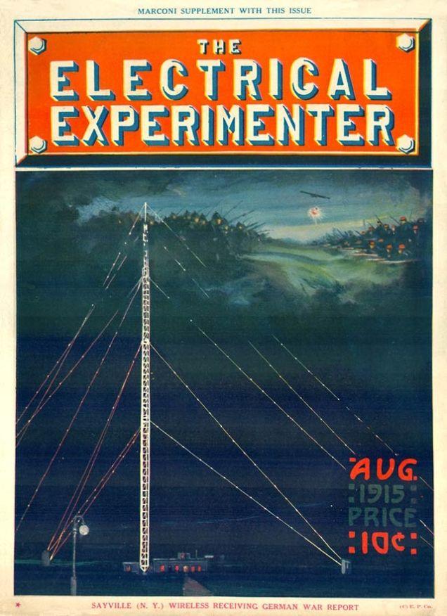 A capa da edição de agosto de 1915 da The Electrical Experimenter, com uma ilustração da estação Sayville. Magazineart.org