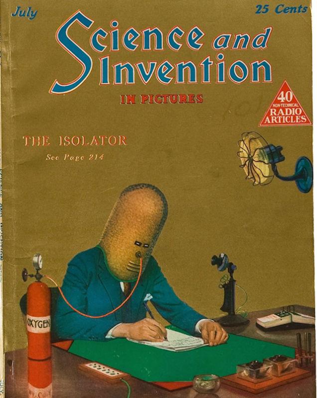 """Elmo """"Isolador"""" de Hugo Gernsback, conforme apareceu na edição de julho de 1925 da Science and Invention. Laughing Squid."""