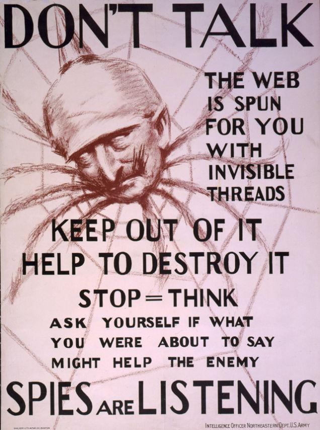 Propaganda da Primeira Guerra Mundial mostrando Kaiser Wilhelm II como uma aranha no centro de uma teia invisível, c. 1918. Library of Congress.
