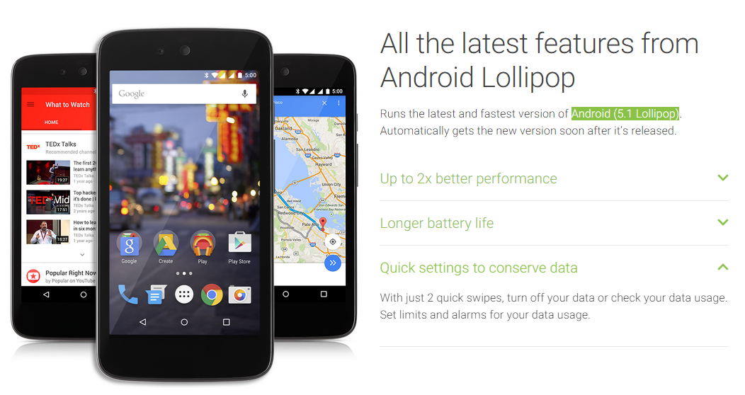Android 5.1 Lollipop em pagina oficial