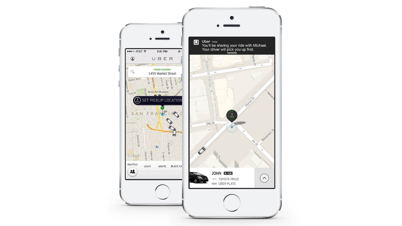Interface do Uber no iPhone