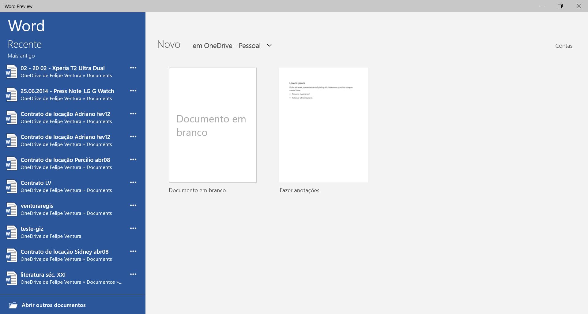 Office para Windows 10 - abrindo Word