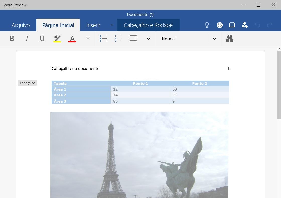 Office para Windows 10 - editando documento no Word