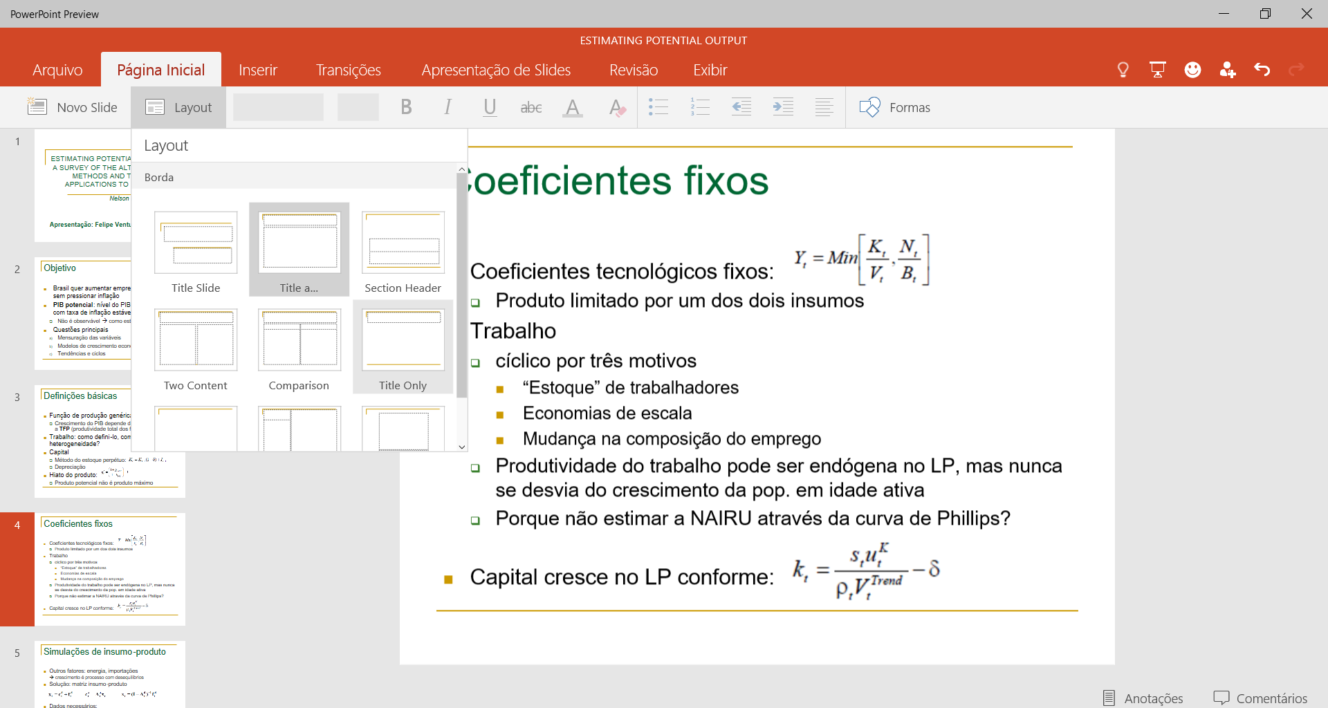 Office para Windows 10 - layouts no PowerPoint