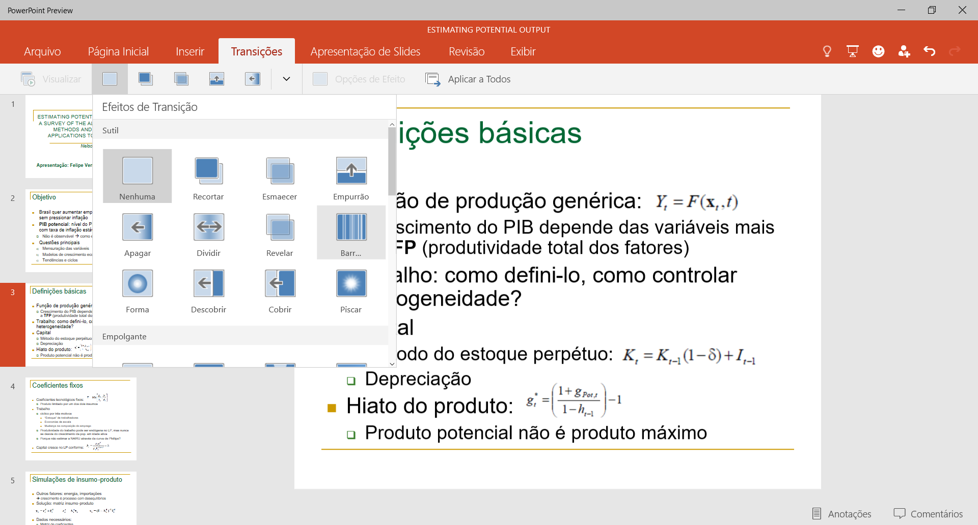 Office para Windows 10 - transicoes no PowerPoint