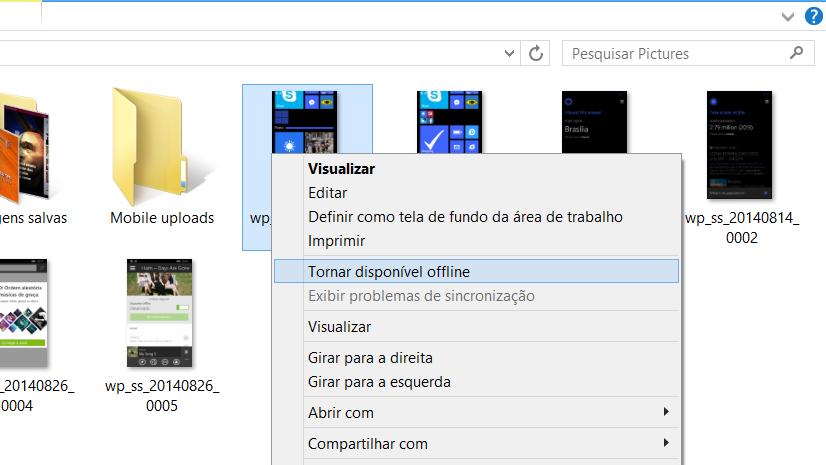 OneDrive - tornar disponivel offline