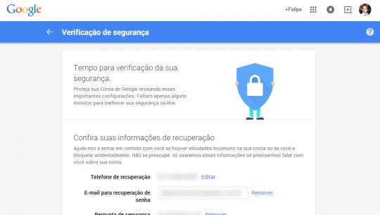 Verificacao de seguranca do Google