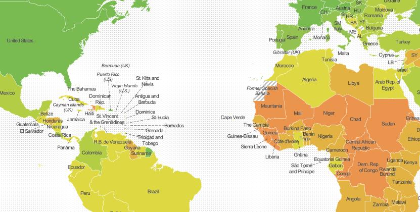 Em um possível desastre, quais países irão desaparecer primeiro?