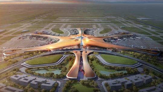 Visão aérea do novo terminal do Aeroporto Internacional de Pequim