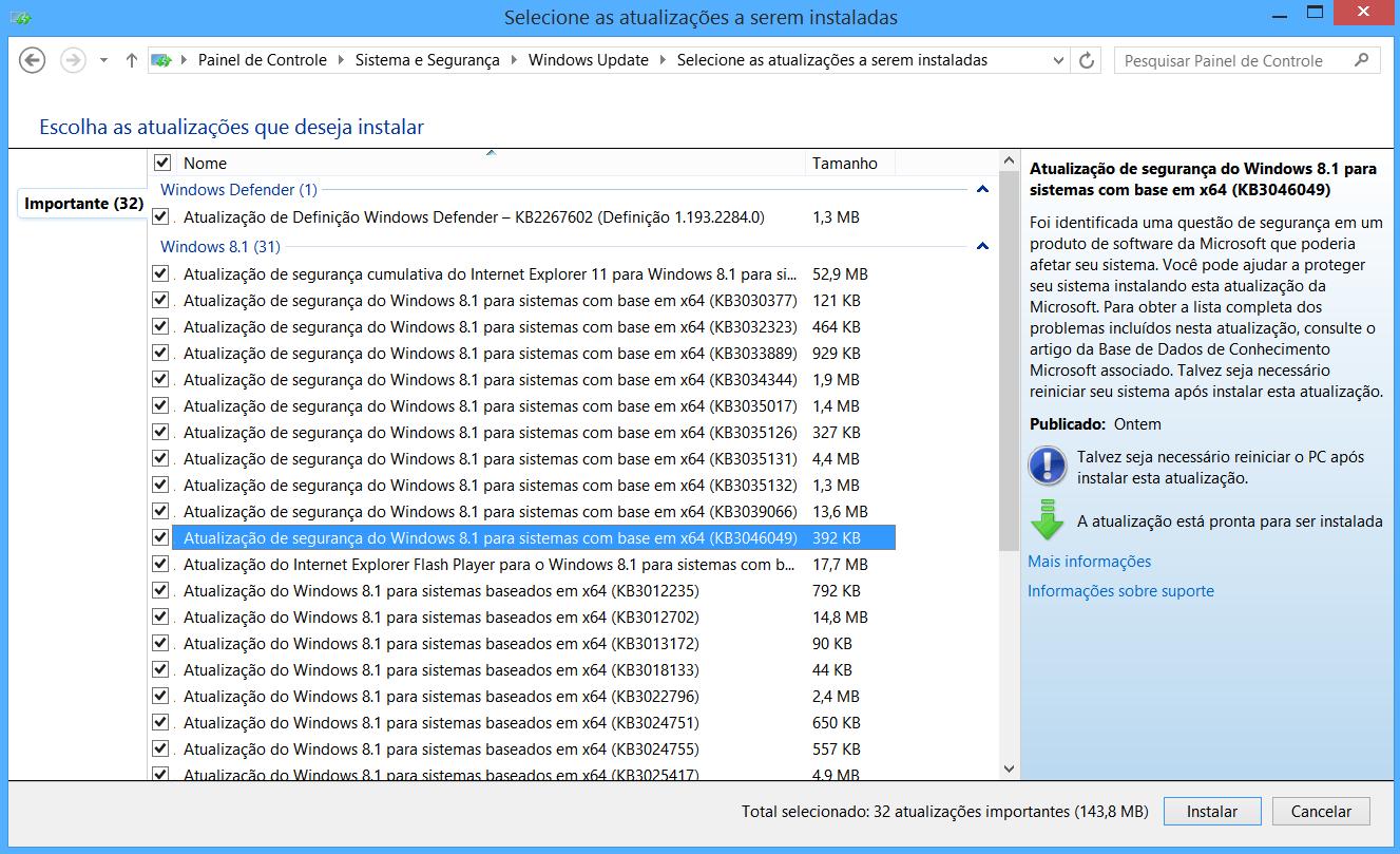 Atualizacao para falha FREAK no Windows