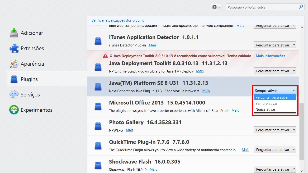 Desativar Java - Firefox