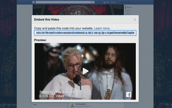 Incorporar video do Facebook